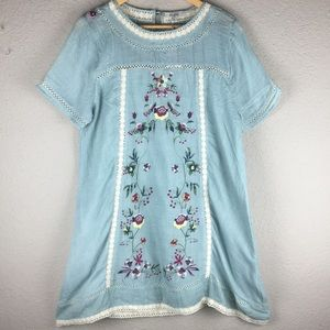 UMGEE Boho Floral Print Dress  Medium   Blue